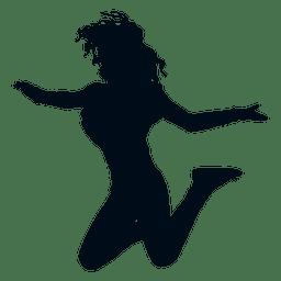 Springendes Schattenbild der Frau springen Schattenbild