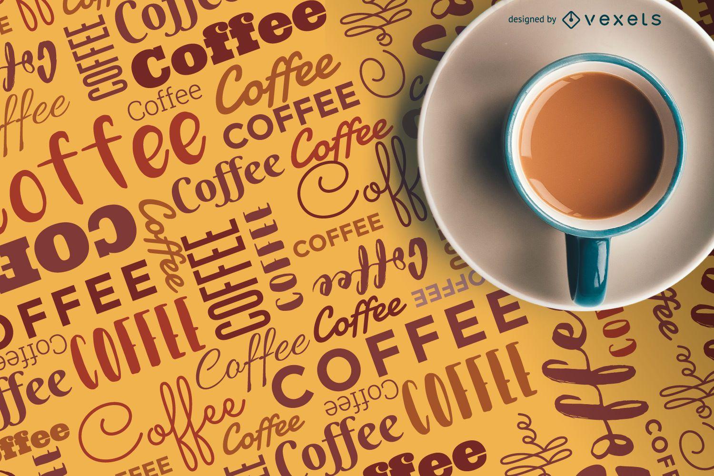 Letras de patrón de café con taza