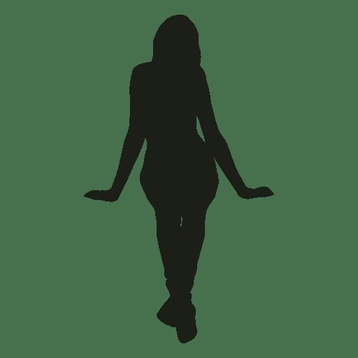 Mujer sentado silueta vista delantera