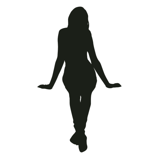 Woman Sitting Silhouette Front View - Transparent PNG ...