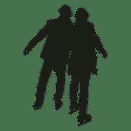 Silhueta de patinagem no gelo jovem casal