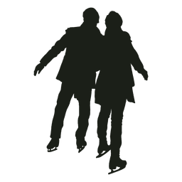 Young couple ice skating silhouette