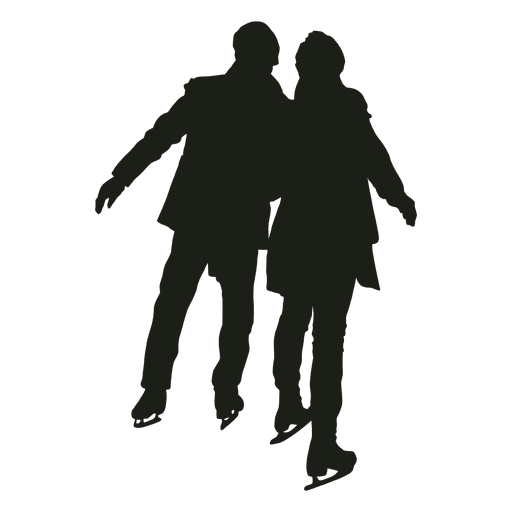 Young couple ice skating silhouette Transparent PNG