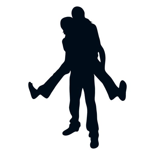 Young happy couple silhouette