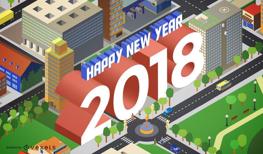 Sinal de cidade isométrica de 2018
