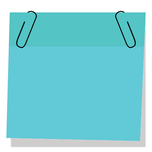 Blue sticky note with paperclip Transparent PNG