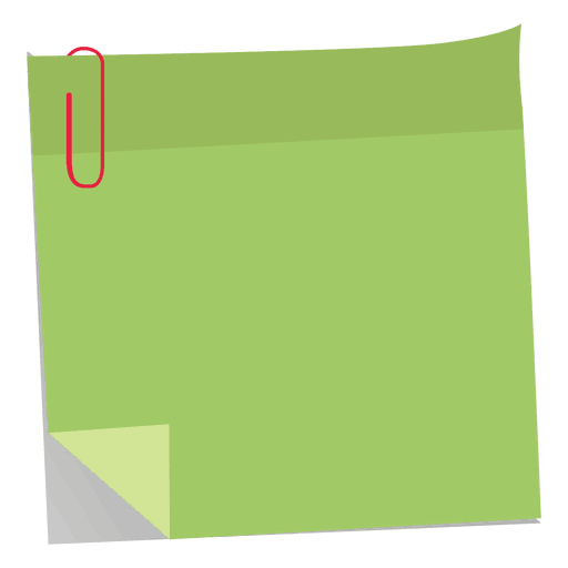 Green sticky note with paperclip Transparent PNG