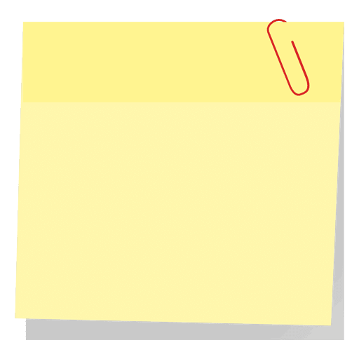 Yellow sticky note with paperclip