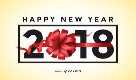 Sinal de arco de presente de ano novo de 2018