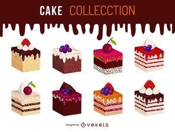 Conjunto de ilustración de torta isométrica