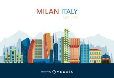 Flat Milan skyline design