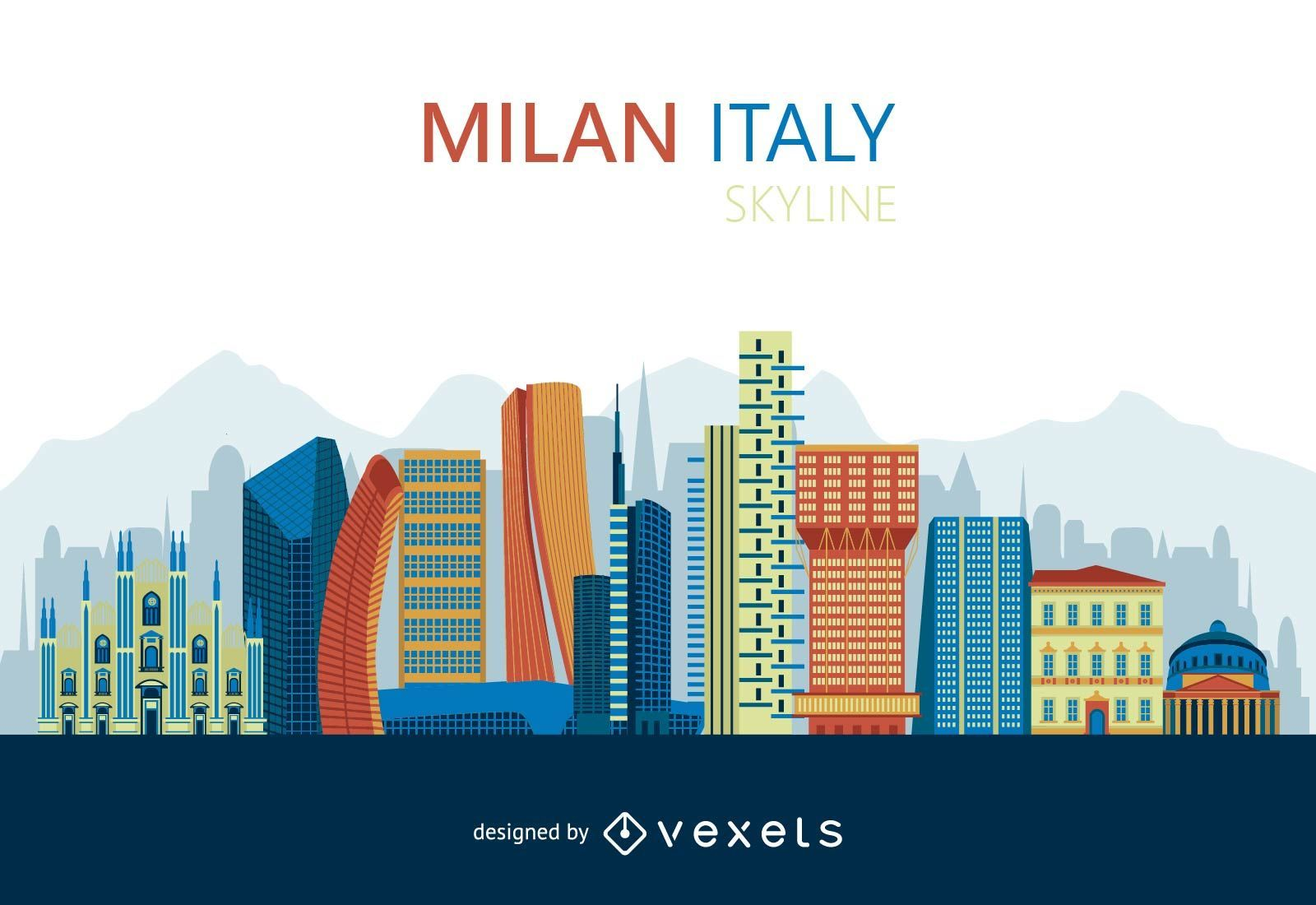 Flat Milan skyline design