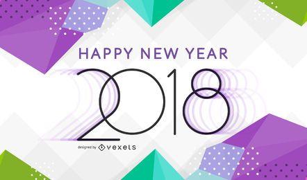 Brillante poligonal 2018 año nuevo