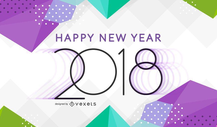 Brilhante ano novo 2018 poligonal