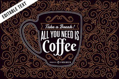 Kaffeeillustration mit Beschriftung und Strudeln