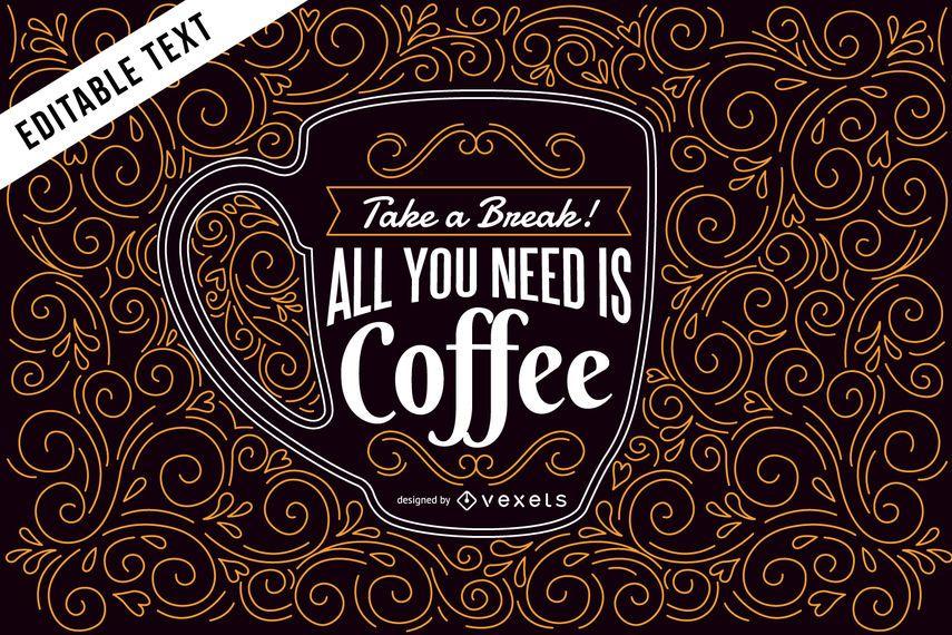Ilustração de café com letras e redemoinhos