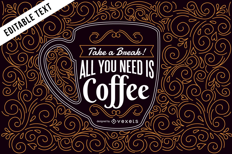 Ilustración de café con letras y remolinos