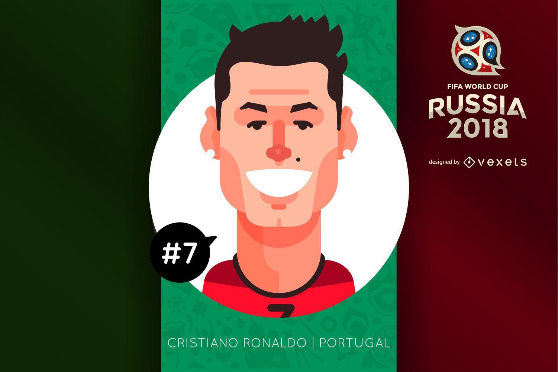 Personagem De Desenho Animado De Cristiano Ronaldo Baixar Vector