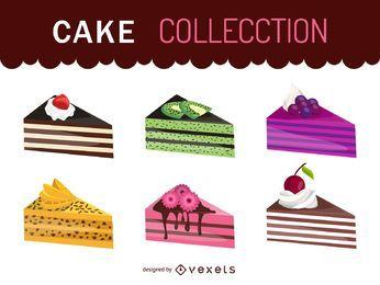 Conjunto de ilustração do pedaço de bolo