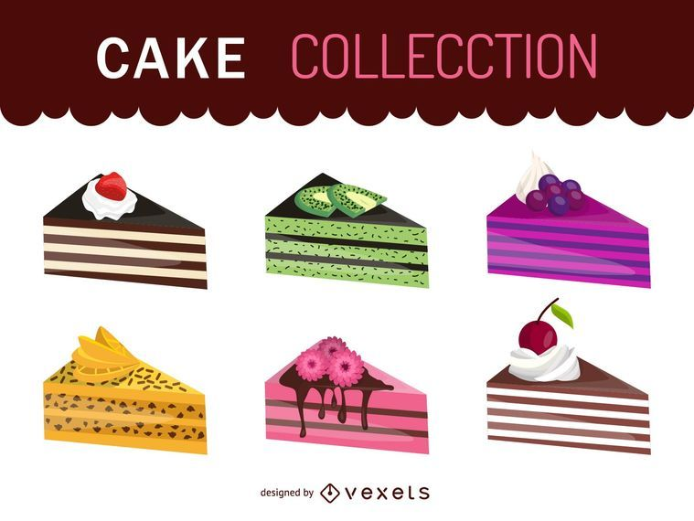 Piece of cake illustration set
