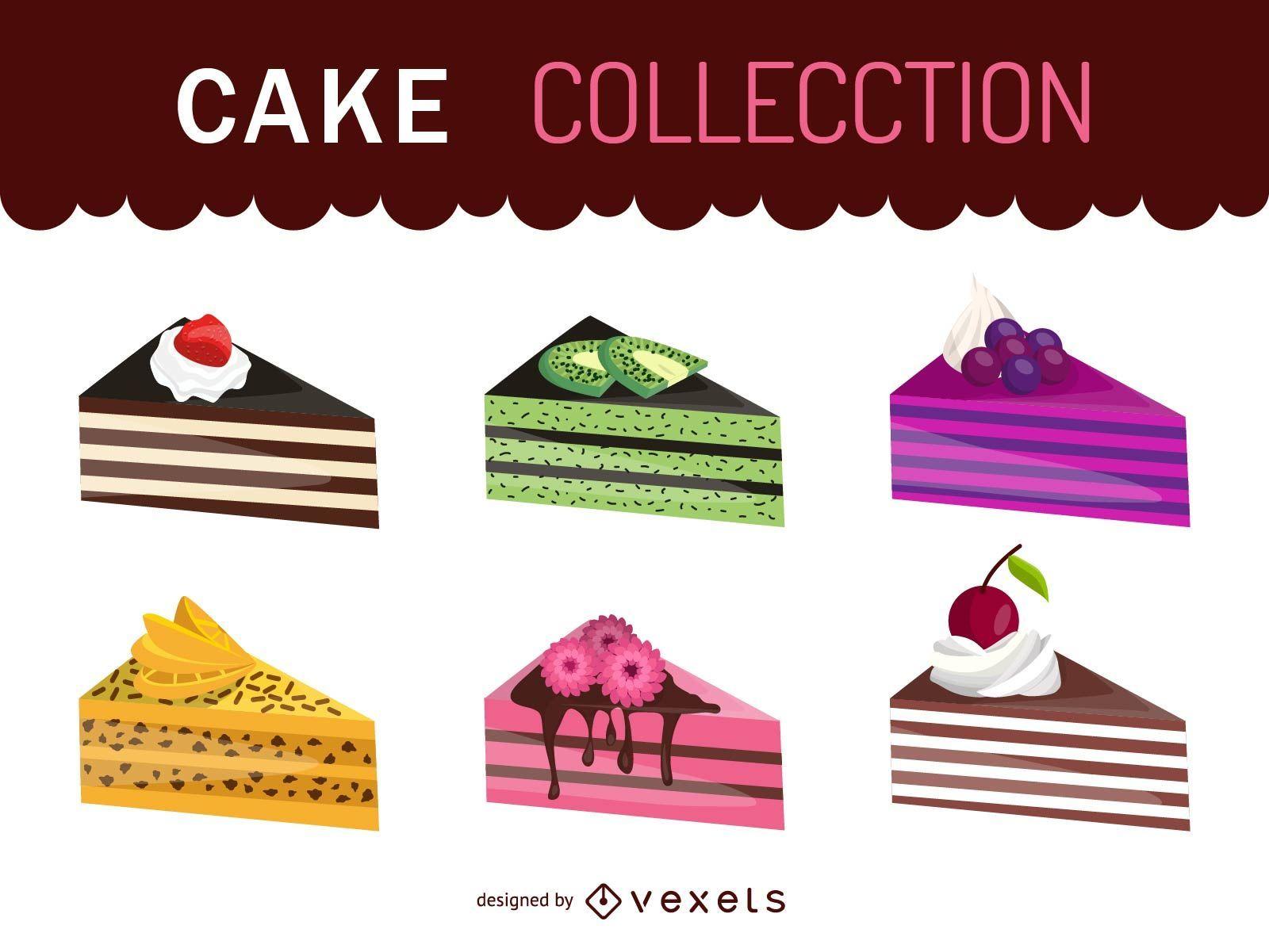 Conjunto de ilustración de pedazo de pastel