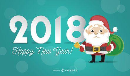 2018 greeting card with Santa illustration
