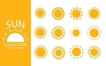 Pack de ilustraciones de silueta de sol.