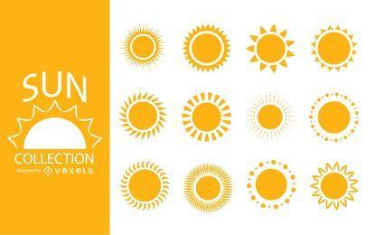 Pacote de ilustrações de silhueta do sol