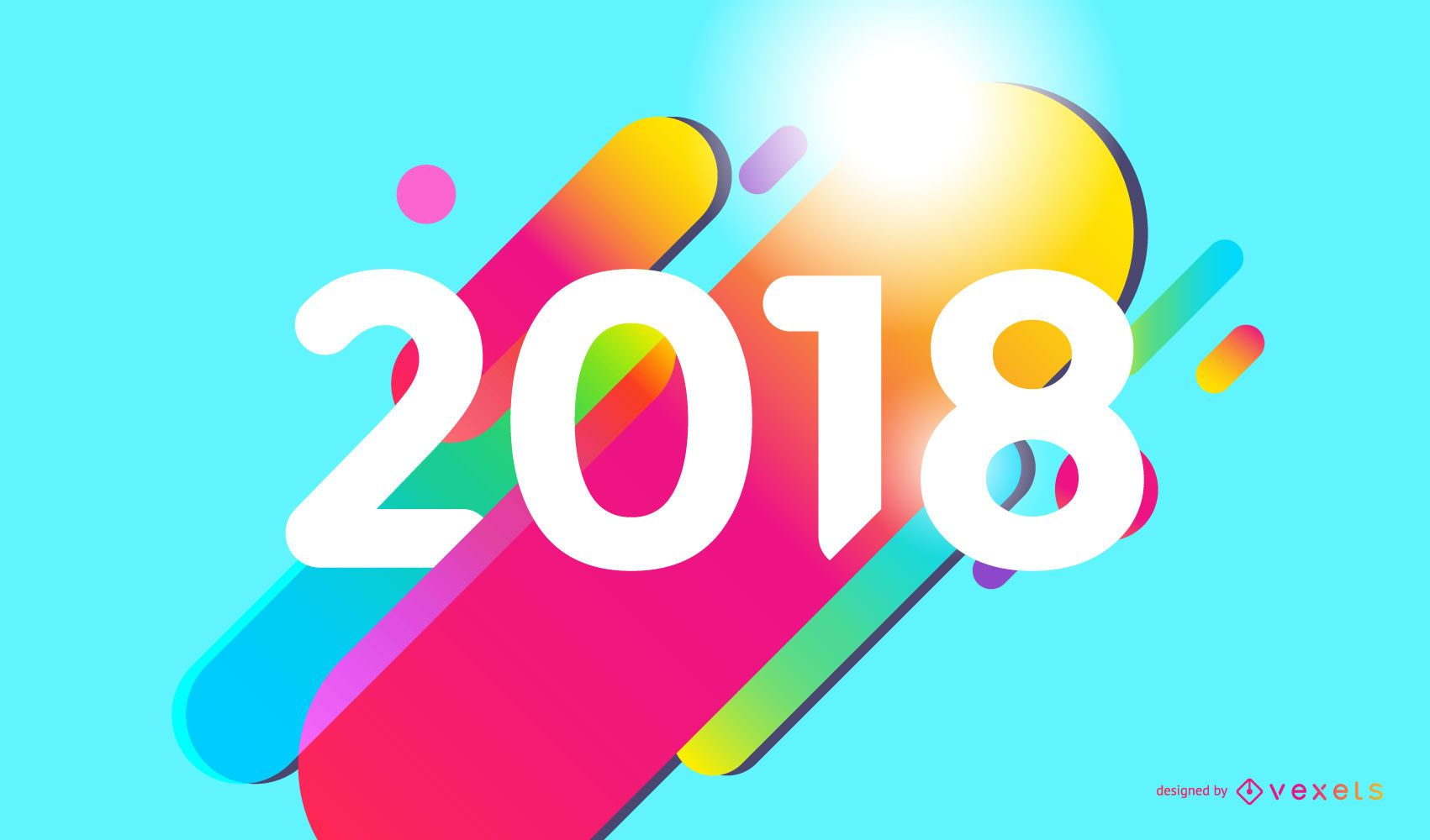 Colorful 2018 sign
