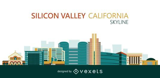 Flat Silicon Valley skyline