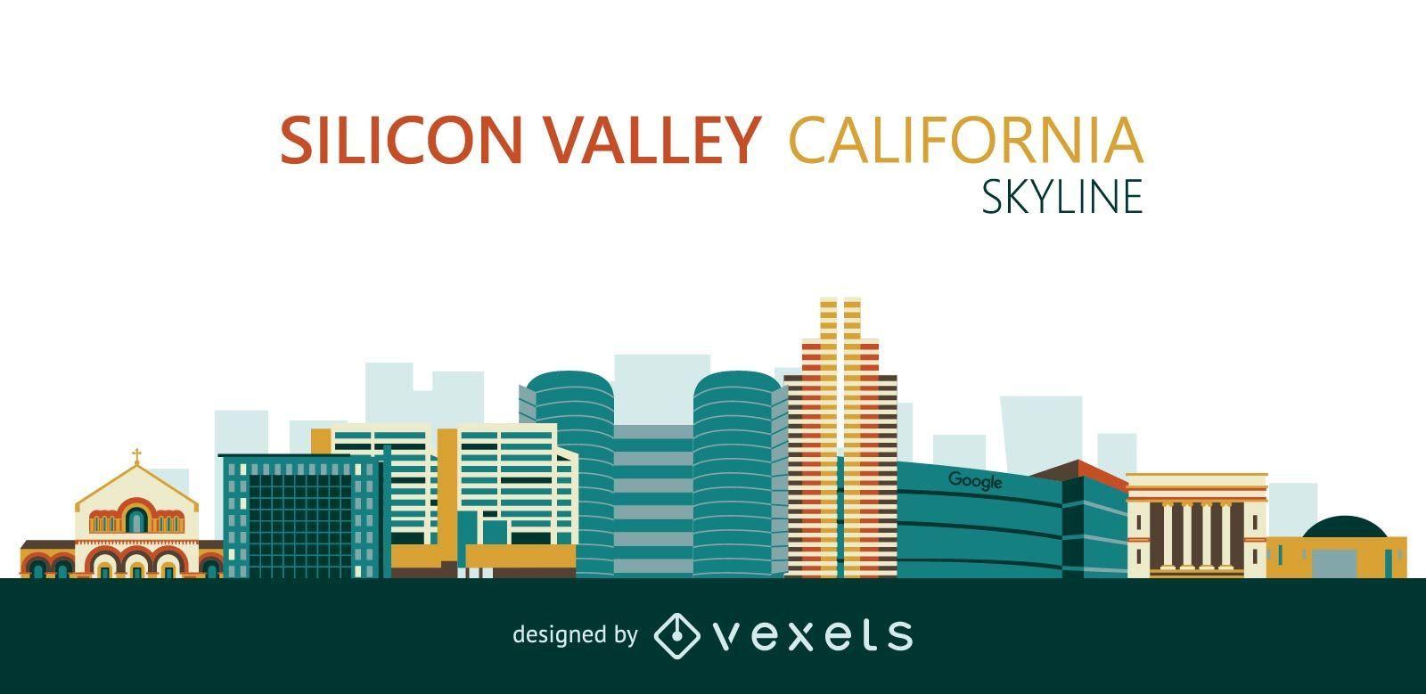 Flat Silicon Valley skyline