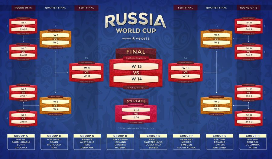 russia 2018 fixture and team groups vector download
