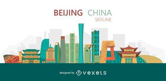 Flat Beijing skyline design