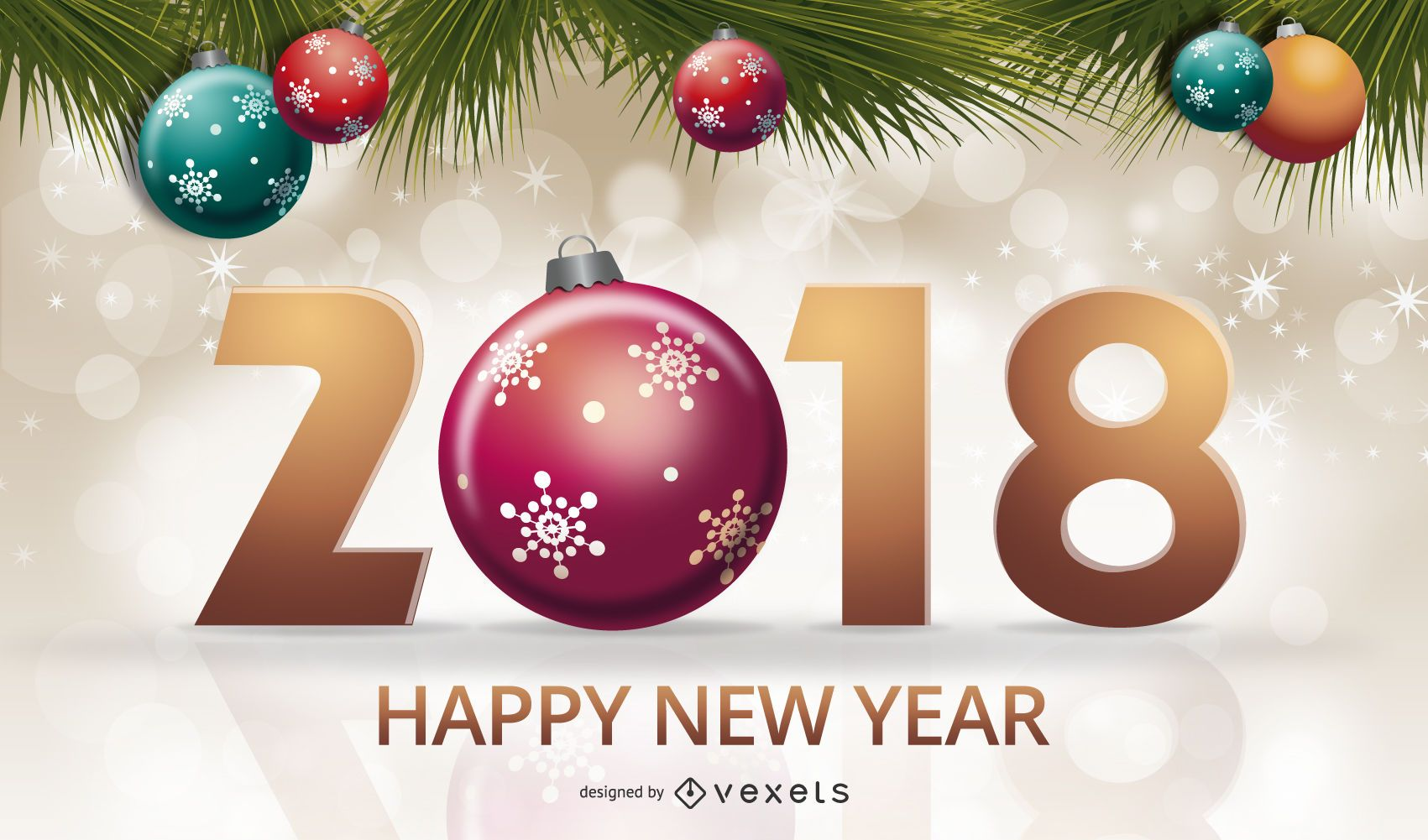 2018 New Year sign with ornaments
