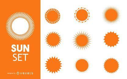 Coleção de silhuetas do sol