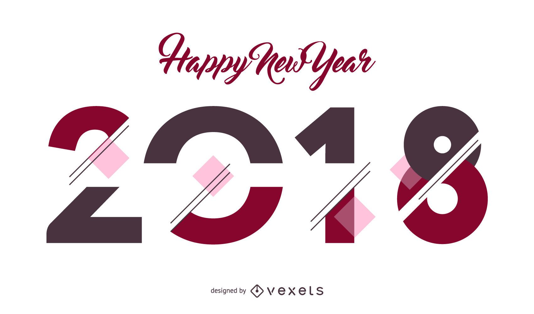 2018 New Year poster sign - Vector download
