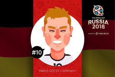 Mario Götze Russia 2018 dibujos animados