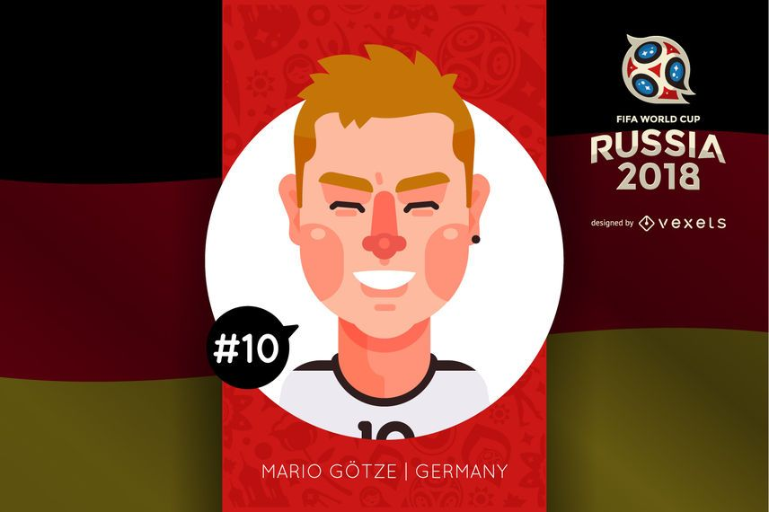 Mario Götze Russia 2018 cartoon