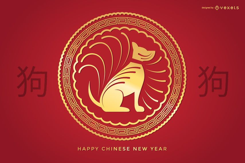 Golden Chinese New Year sign
