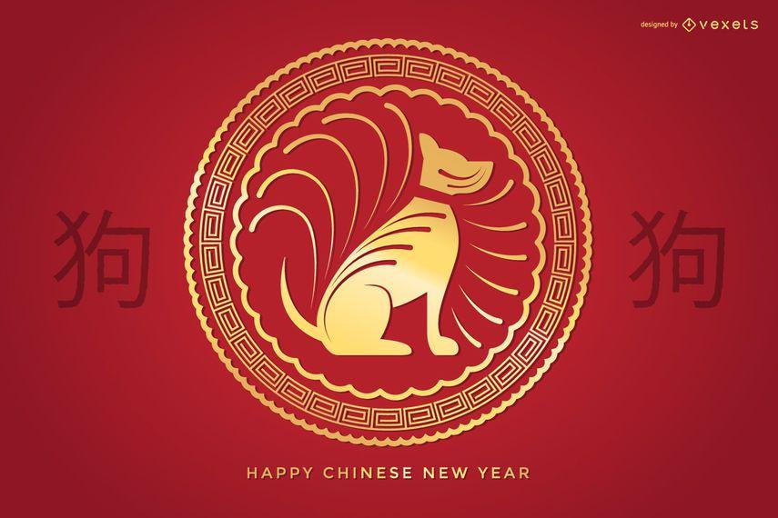 Goldenes chinesisches Neujahrszeichen