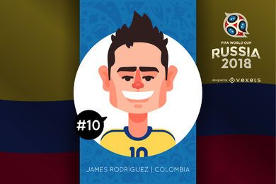 James Rodriguez Russia 2018 cartoon
