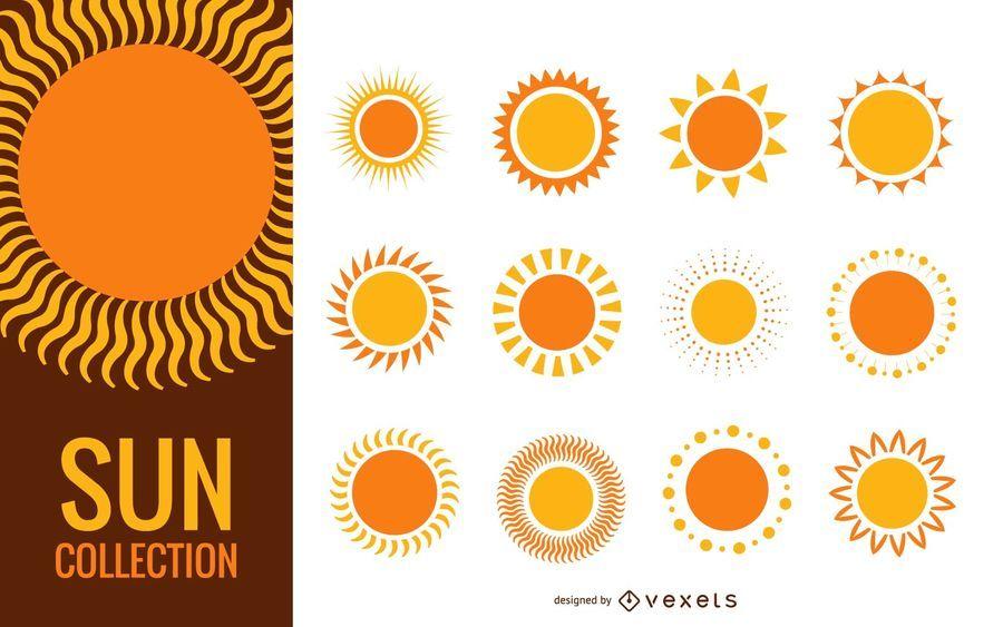 Colección de ilustración divertida sol