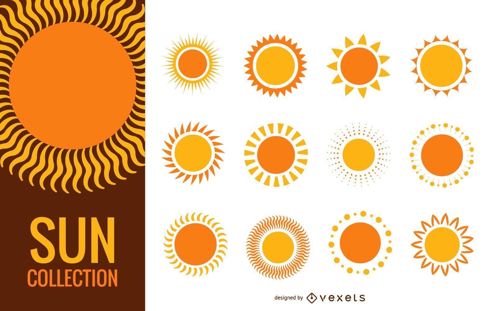 Colección divertida de ilustraciones de sol