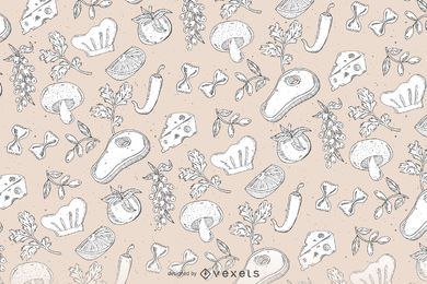 Hand drawn seamless food pattern