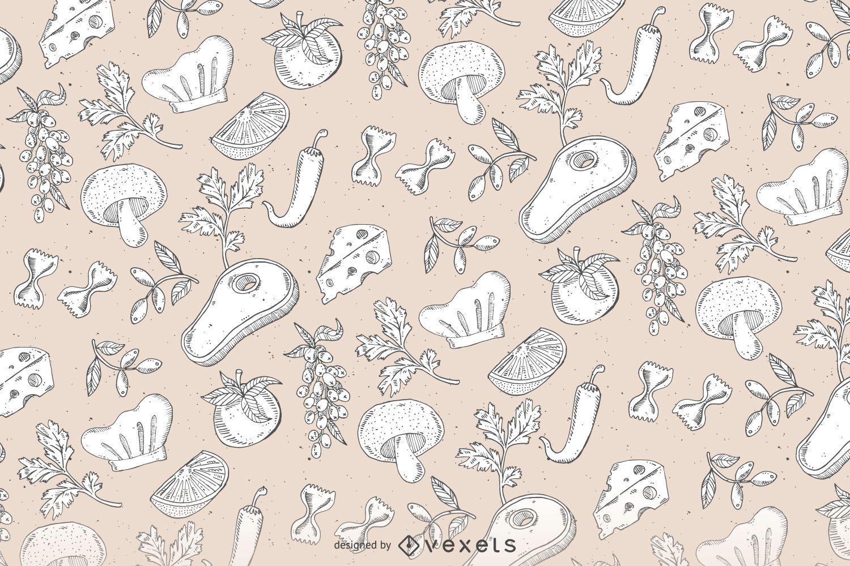 Hand drawn seamless food pattern