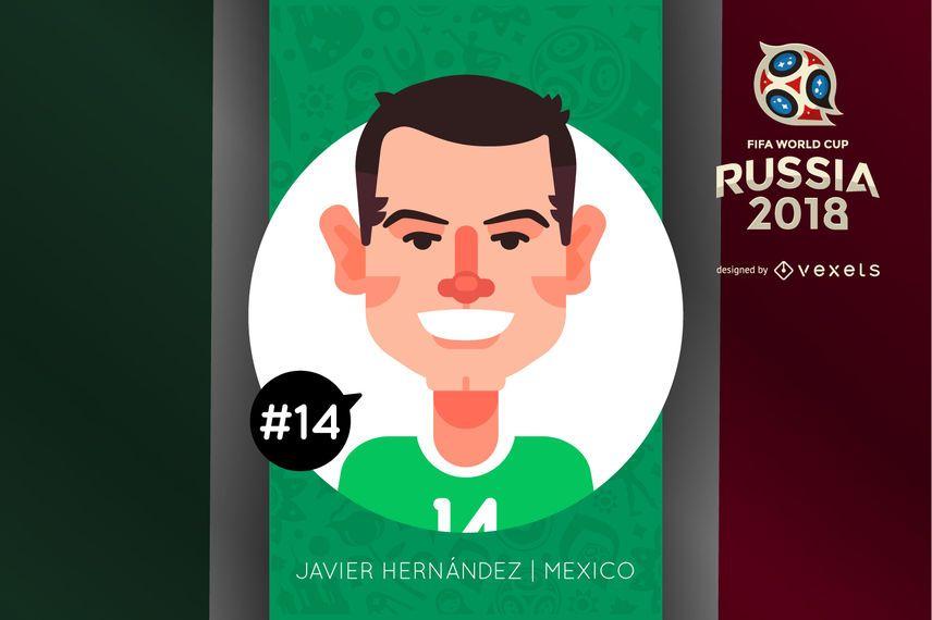 Caricatura de personaje Javier Hernandez