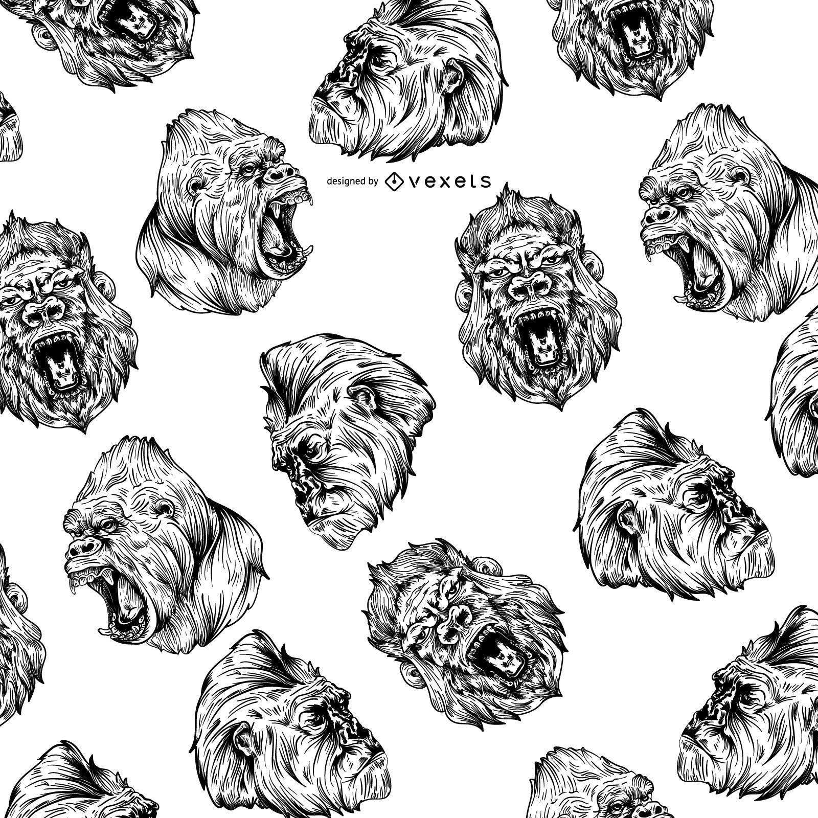 Illustrated gorilla seamless pattern