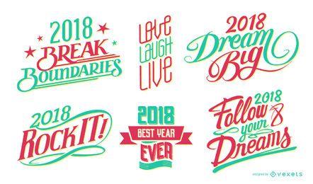 2018 insignias de letras de año nuevo