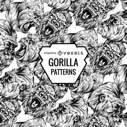 Diseño de patrón de gorilas enojado