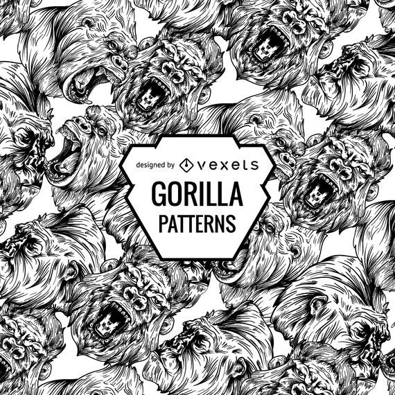 Angry gorillas pattern design